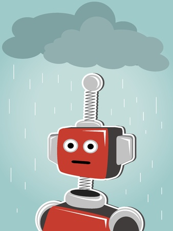bot: Red robot illustration of bot standing under clouds and rain