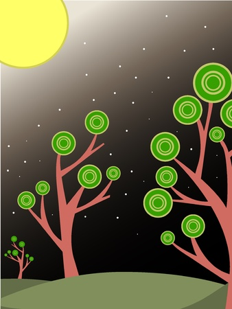 Surreal trees lit by big bright moon and stars. Ilustrace