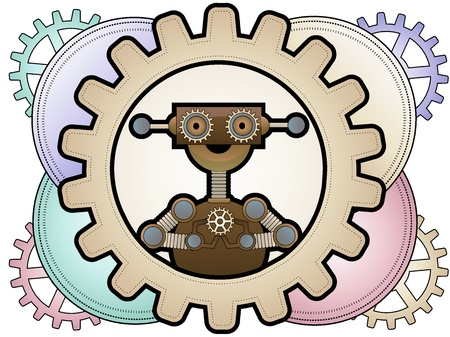 Illustration of gear loving robot inside gear accents Ilustrace