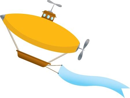 航空ショー: バスケットと大きな青い曲線空白青いバナーと明るいシンプルなファンタジー飛行船