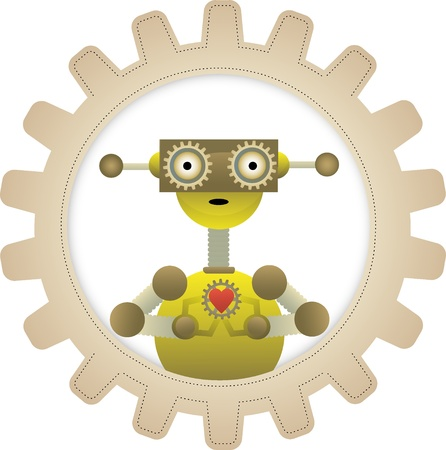 gears: Cartoon Streampunk robot stands within gear holding gear with heart on it