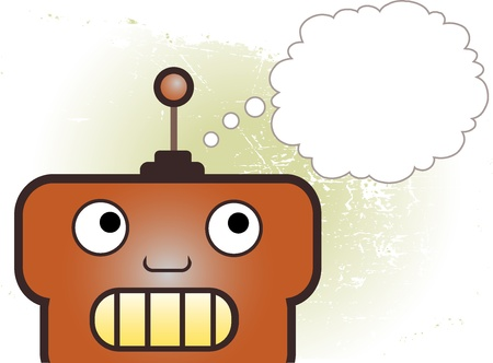 Close up on robot from chin up blank thought bubble accented by grungy background