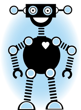 Smiling happy robot standing with vector illustration Ilustrace