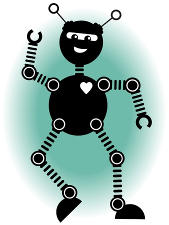 springy: Large round springy robot dances vector illustration
