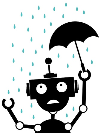 Scared robot stuck in the rain vector illustration