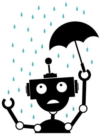 Scared robot stuck in the rain vector illustration