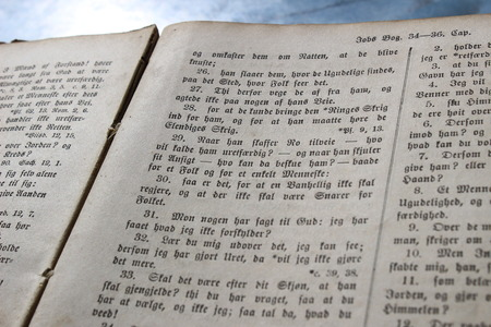 very dirty: Very Old Book close up - Danish Bible Stock Photo