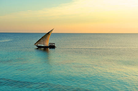 local fishermen dhow in tanzania Stock Photo