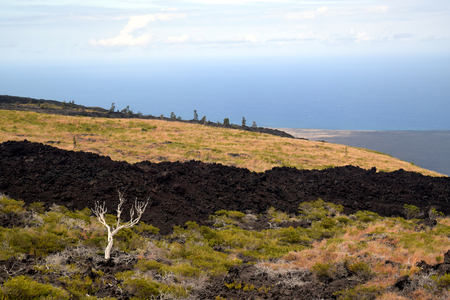 craters: volcanic landscape along the Chain of Craters Road in Hawaii Volcanoes National Park Stock Photo