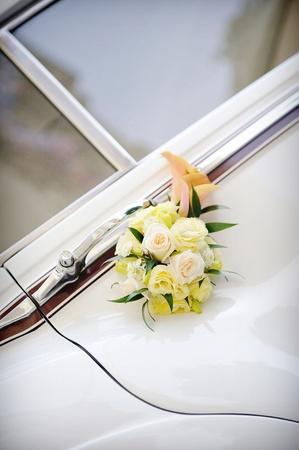Vintage esküvői autó Stock fotó