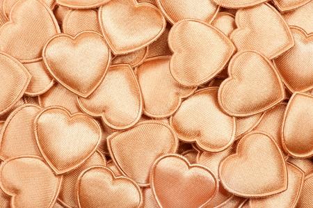 Golden Valentine hearts Stock Photo