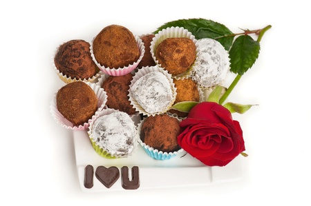 Valentine chocolate truffles photo