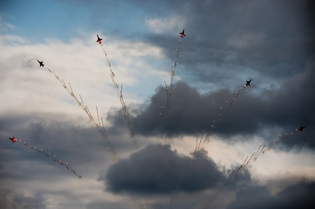 Radom, Poland - August 28, 2011: Patrouille Suisse make their final figure during Air Show Radom 2011