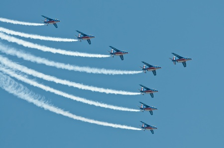 Radom, Poland - August 27, 2011: Patrouille de France make their show during Air Show Radom 2011