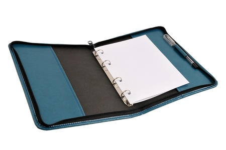 Blue leather organizer with white page inside