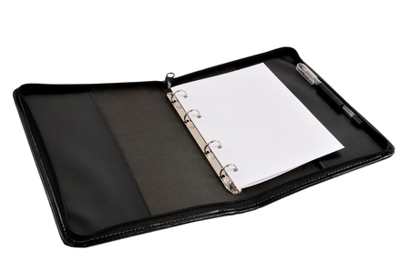 Leather notebook with white paper inside photo