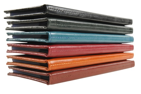 Stack of leather business card organizers