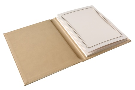 Beige leather photo album