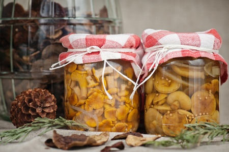 Chanterelles and porcini mushrooms marinated in jars, with a jar of dried mushrooms in the background