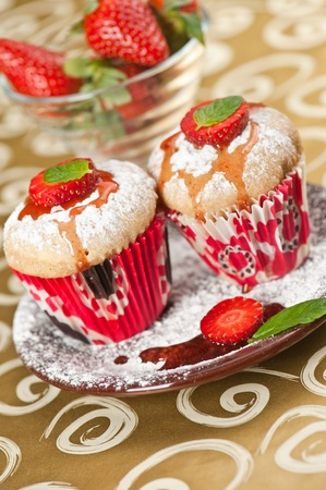 Strawberry muffins photo