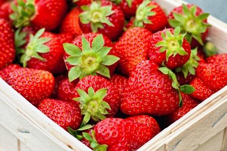 Fresh strawberries in a basket photo