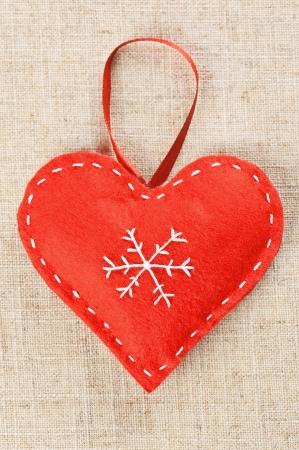 Red heart handmade of felt Stock Photo - 16751757
