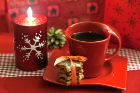 Christmas coffee with a set of cookies Stock Photo