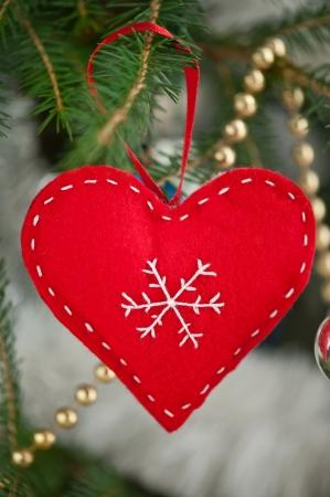 Red heart felt Christmas tree decoration Stock Photo - 17062351