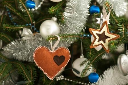 Felt Christmas tree decorations imitating gingerbread cookies Stock Photo - 17062349