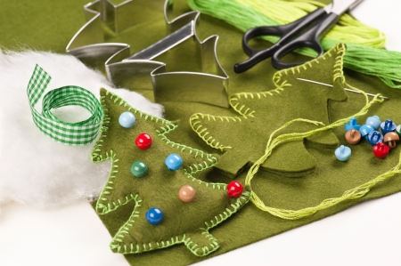 DIY Christmas tree felt  decoration Stock Photo