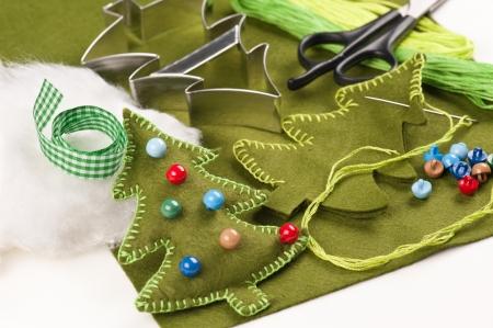 cottonwool: DIY Christmas tree felt  decoration Stock Photo