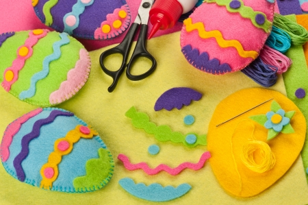 DIY colorful felt Easter eggs Stock Photo