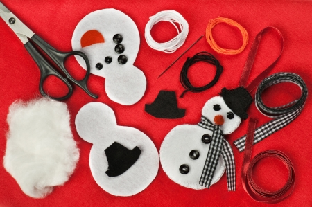 DIY Christmas felt snowman decoration Stock Photo - 17165323