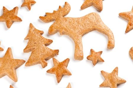 Mézeskalács karácsonyi sütemények fehér alapon Stock fotó