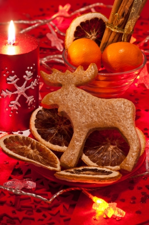 rudolph: Homebaked gingerbread Rudolph cookie on a red plate