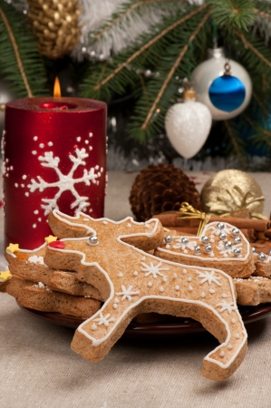 Gingerbread Rudolph Christmas decoration Stock Photo