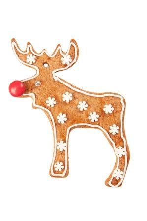 rudolph: Homebaked gingerbread cookie Reindeer Stock Photo