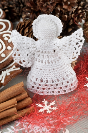 Handmade Christmas Crochet Angel with a halo photo
