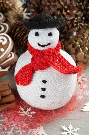 Handmade Christmas Crochet Fat Snowman Stock Photo
