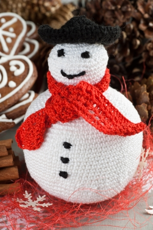 Handmade Christmas Crochet Fat Snowman photo