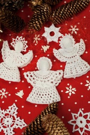 Handmade Christmas Crochet Angels on red