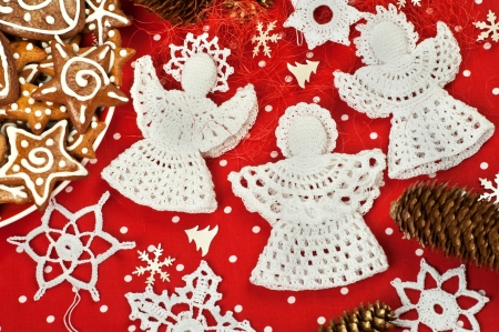 Handmade Christmas Crochet Angels and Snowflakes photo