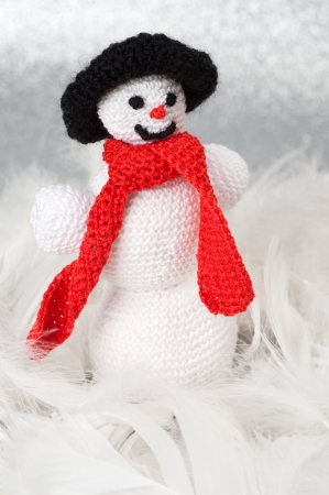 Handmade Christmas Crochet Slim Snowman photo