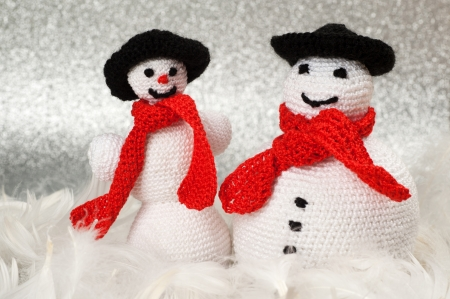 Two Handmade Christmas Crochet Snowmen photo
