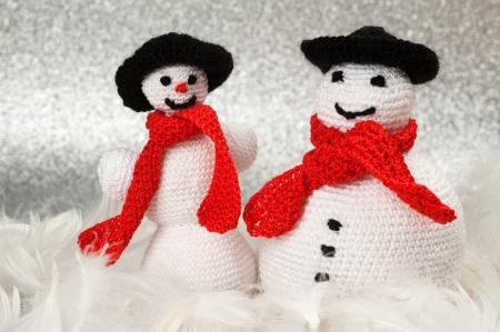 Two Handmade Christmas Crochet Snowmen
