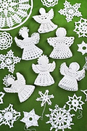 Handmade Christmas Crochet Angels and Snowflakes