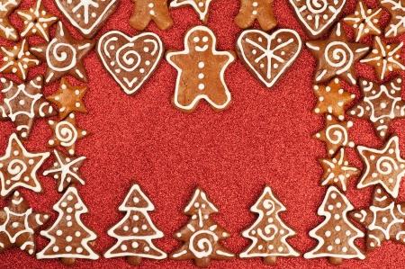Homebaked Christmas Gingerbread Cookies border Stock Photo
