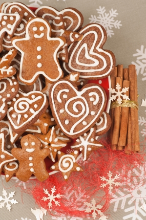 Assorted Homebaked Christmas Gingerbread Cookies Stock Photo