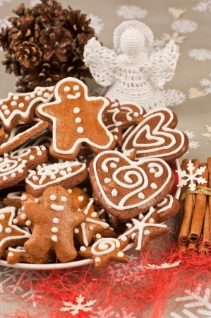 Assorted Homebaked Christmas Gingerbread Cookies photo