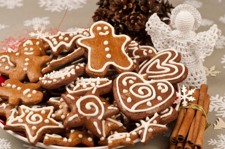 Homebaked Christmas Gingerbread Cookies on a plate photo